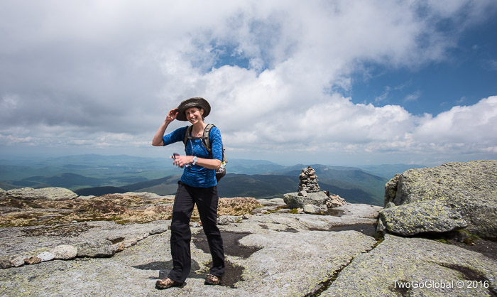 Andrea on the summit of Mt Marcy, New York's highpoint