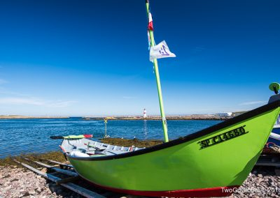 Colorful fishing boat in Saint-Pierre harbour