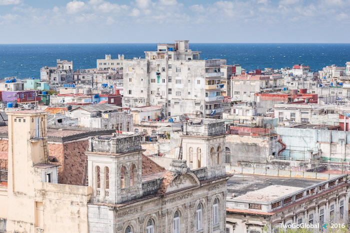 Havana sitting on the shores of the Caribbean Sea