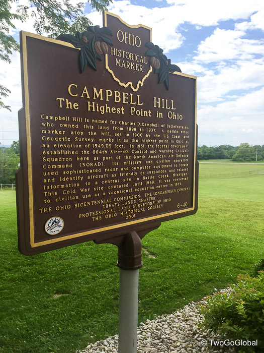 Campbell Hill at 1,550' in elevation