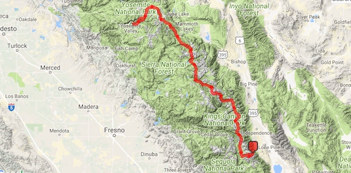 GPS track from our 220 mile Whitney Portal to Yosemite Happy Isles hike