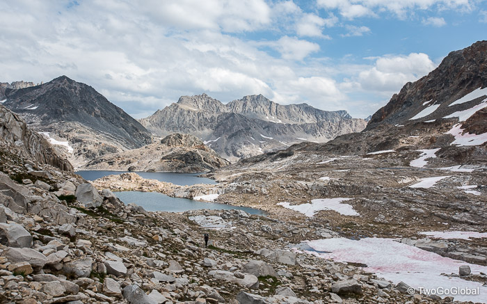 Moonscape of alpine lakes and jagged peaks