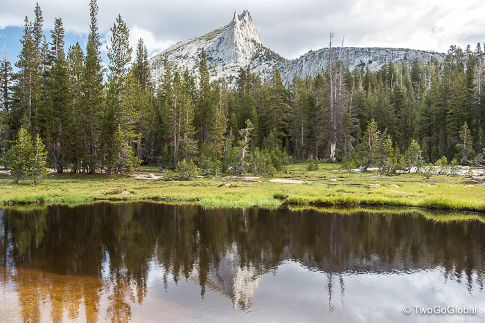 Impressive Cathedral Peak with its reflection