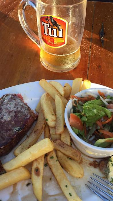 Steak, chips and of course a Tui